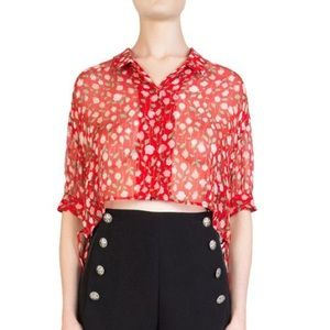 Women's Red Rosa Rosa Cropped Sheer Floral Shirt